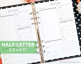PRINTED day on one page - Daily planner insert - Printed do1p planner insert - Half letter (fits A5 binder) - Planner refill - 06H
