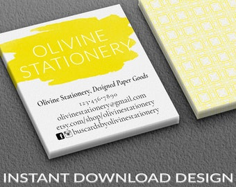 Moo business cards etsy instant download square business cards blank business card template 2 sided photoshop vista printing modern paint brush stroke yellow reheart Gallery