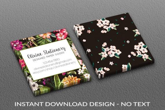 Sofortiger Download Vorlage Visitenkarten Quadratischen Visitenkarte Vorlage Aquarell Photoshop Vista Drucken Exotische Blumen