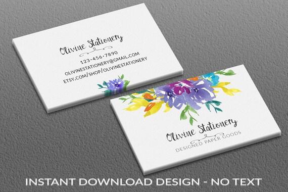 Instant Download Visitenkarten Diy Platz Leere Visitenkarte Vorlage Aquarell Photoshop Vista Zu Drucken Lila Petrol Gelben Blüten