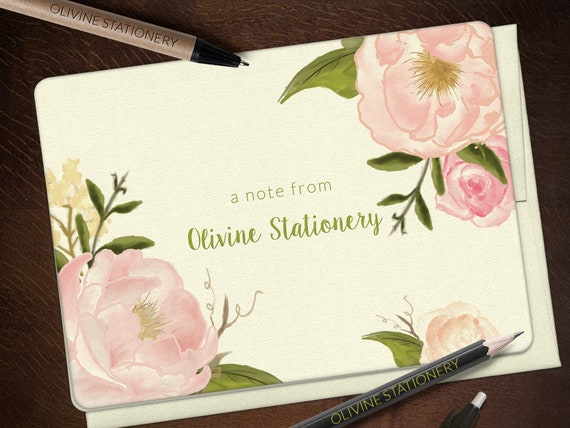Greeting Note Cards Stationery Set Thank You Stationery Peony Cavallini Style Watercolor Notecard Set Set of 10