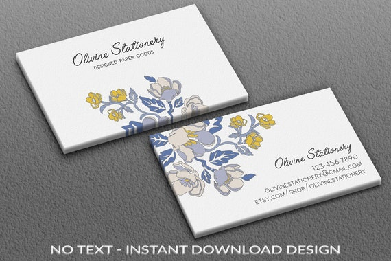 Sofortiger Download Vorlage Visitenkarten Diy Platz Visitenkarte Vorlage Aquarell Photoshop Vista Drucken Stilisierte Blaue Blumen
