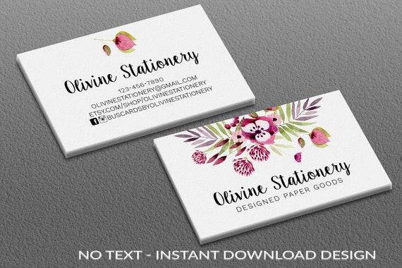 Sofortiger Download Vorlage Visitenkarten Platz Visitenkarte Vorlage Photoshop Benutzerdefinierte Karte Vista Druck Aquarell Rosa Blüten