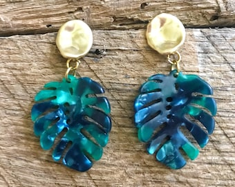 Palm Leaf Earrings, Leaf Earrings, Green Earrings, Green Leaf Earrings, Summer Earrings, Leaf Drop Earrings