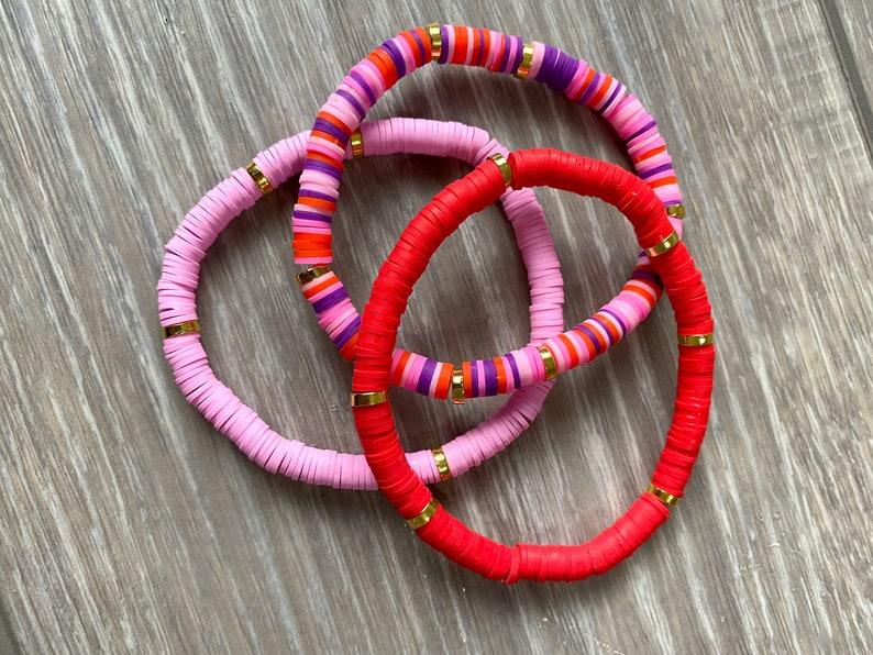 Red Vinyl Bracelet Red Beaded Bracelet Valentines Bracelet July 4th Bracelet Red Vinyl Heishi Bead Bracelet