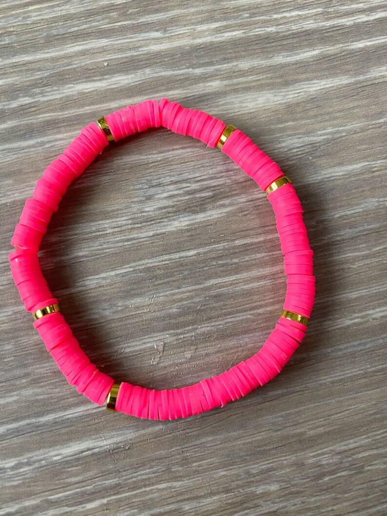 Pink Vinyl Heishi Bead Bracelet Pink Beaded Bracelet Pink and Gold Bracelet Pink Bead Bracelet Neon Pink Vinyl Bracelet