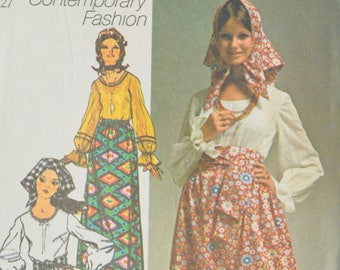 Sewing Pattern Vintage Simplicity 9112 Boho Maxi Skirt and Peasant Blouse 1970's