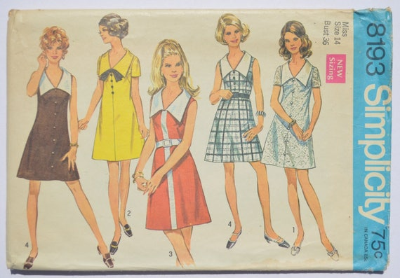 Sewing Pattern Vintage Simplicity 8193 A Line Dress 1960s Etsy