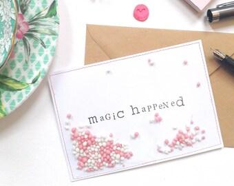 Magic Happened pink I Ansichtkaart/Postcard
