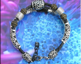 Men or Womens Leather & Silver Bracelet Double leather braided thong, Black Agate