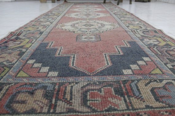 Oushak Runner Rug Turkish Handknotted Muted Distressed Boho  8cdd27d54