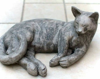 Delicieux Life Size Stone Lying Cat. For Garden Or Indoor Display. Cat Sculpture. Cat  Ornament. Garden Sculpture. Cat Memorial.