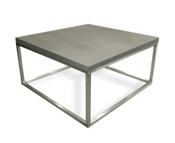 Stainless Steel And Concrete Coffee Table Side Table Occasional Table Tisch Aus Beton Table En Béton Mesa De Hormigón