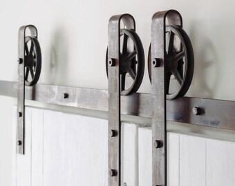 Vintage Industrial Spoked Sliding Barn Double Door Hardware