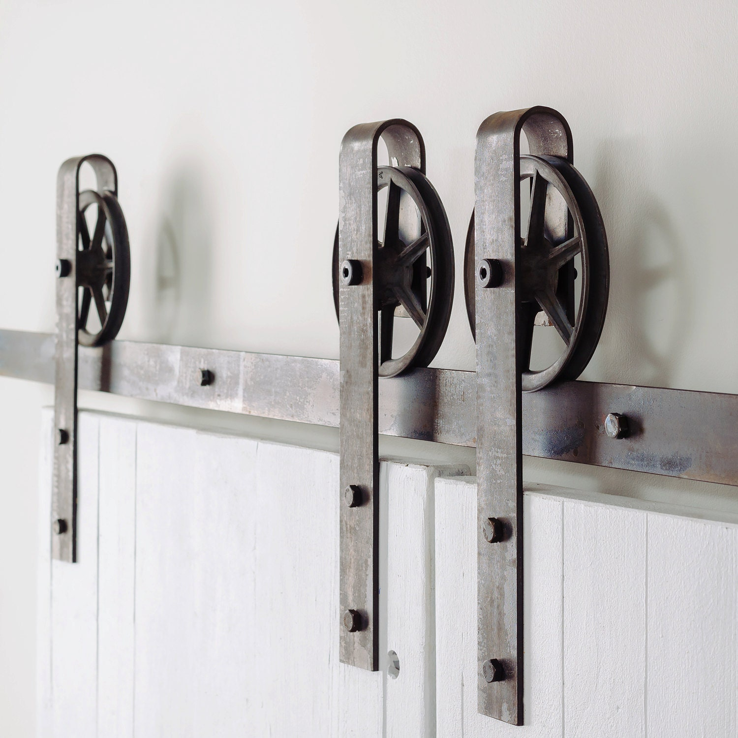 Vintage Spoked Double Door Sliding Barn Door Hardware Set Etsy