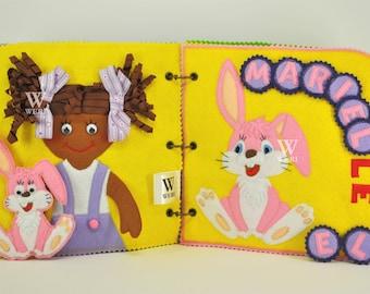 Personalizada libro tranquilo libro ocupado, actividad, Montessori, libro de tela, juguete de viaje, páginas 6-14, hechos por encargo