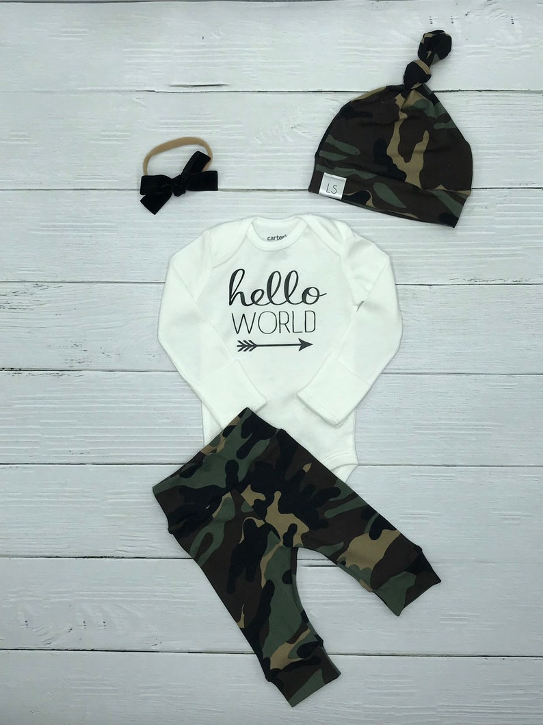 13a8a85d6 Hello world outfit / Camo outfit / baby boy outfit / baby boy   Etsy