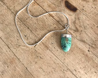 Turquoise Sterling Silver Necklace, Southwestern Necklace  Turquoise, Arrowhead-Shaped Turquoise Necklace