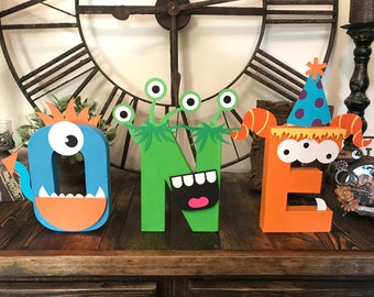 Monster theme first birthday ONE letters , little monster