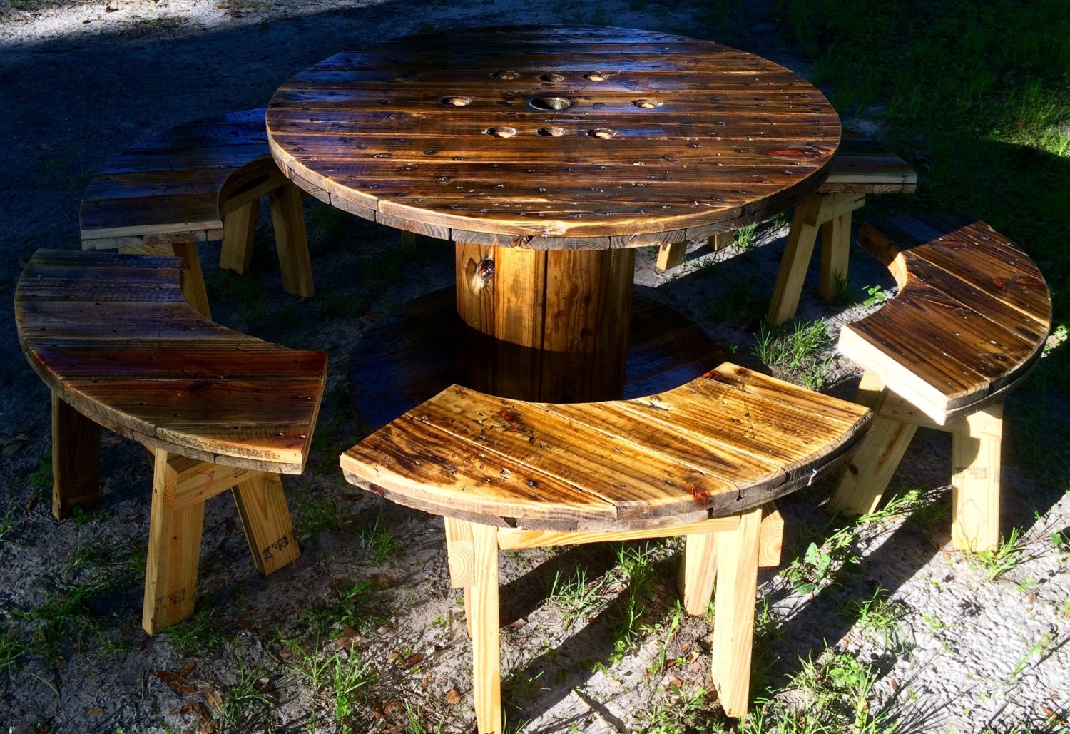 Wire Spool Table with Benches   Etsy