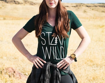 Stay Wild Vneck Womens Tee