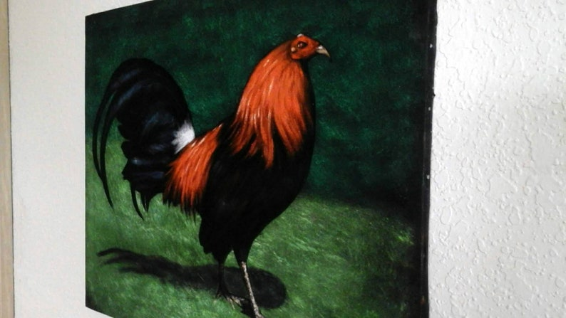 Sweater Hatch Kelso Brown Red Gallo Puros -Gallo Fight hatch Oil Painting  16x20