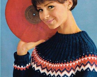 Vintage knitting pattern - Women's Norwegian Pullover - pdf download - Retro 60s Ladies Sweater