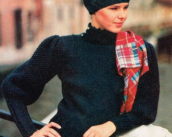 Vintage Woman's Knitting Pattern - Mutton Sleeve Sweater - 80's - Instant PDF Download - retro Ladies sweater