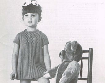 Vintage Knitting Pattern - Girl's 60's Dress -  Children's Knitting patterns  - PDF download retro 60s