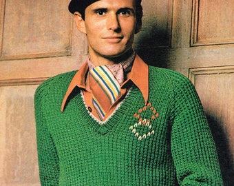 Vintage Knitting Pattern - Men's Raglan Pullover - PDF Download - Retro - 1970s 70s - Knitting for men