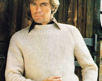 Vintage Men's Knitting Pattern for a Classic Raglan Sleeve Pullover  - PDF Download - Retro 1970's Sweater