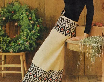 Vintage Woman's Knitting Pattern - Banded Maxi Skirt - 60's skirt pattern - Instant PDF Download - Retro 1960s knitted skirt