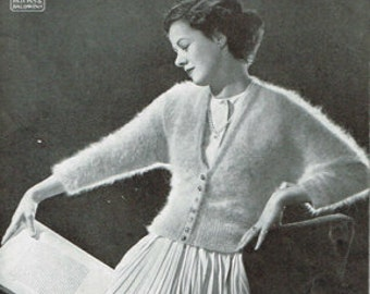 Vintage Women's Knitting Pattern -The stella angora cardigan sweater 40s 50s - instant download PDF - retro - ladies