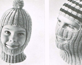 Vintage knitting pattern - Ribbed Helmet - PDF knitting pattern - Knitting patterns for women - retro 60's