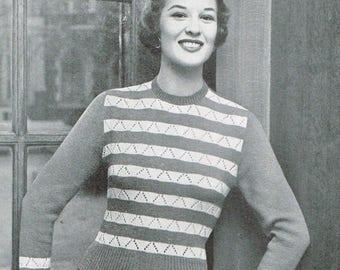 Vintage Women's Knitting Pattern - Karla striped sweater - 40s 50s - instant download PDF - knitting patterns for women