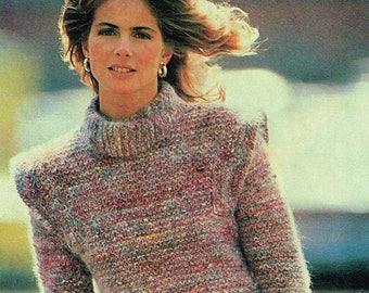 Vintage knitting & crochet pattern - Women's Tweed Pullover - pdf download - 80s - Retro Sweater - PDF Download