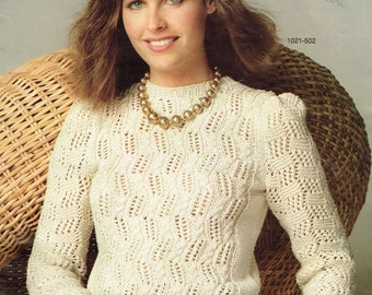 914f0a3b93584 Vintage Women s Knitting Pattern - Ladies Patterned Crew Neck Pullover -  Instant Download PDF - 1980s Retro Sweater Knitting Pattern