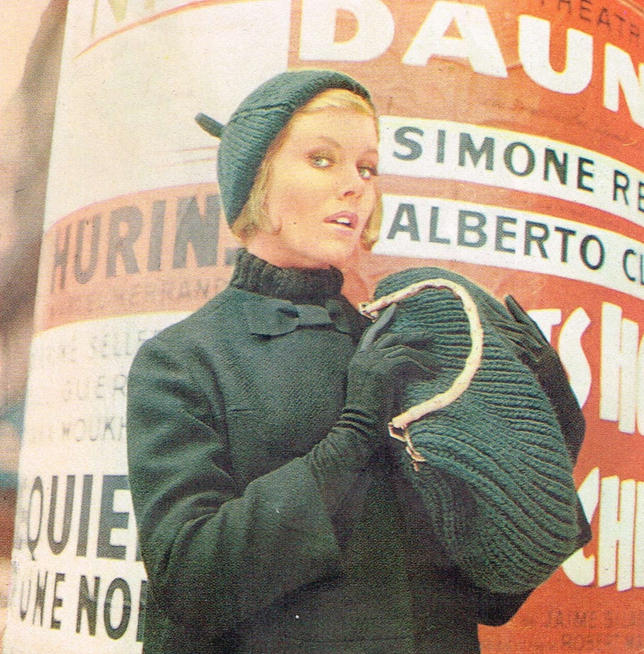 88a65271b Vintage knitting pattern - Paris Beret and Chunky Bag - PDF knitting  pattern - 60s 1960s