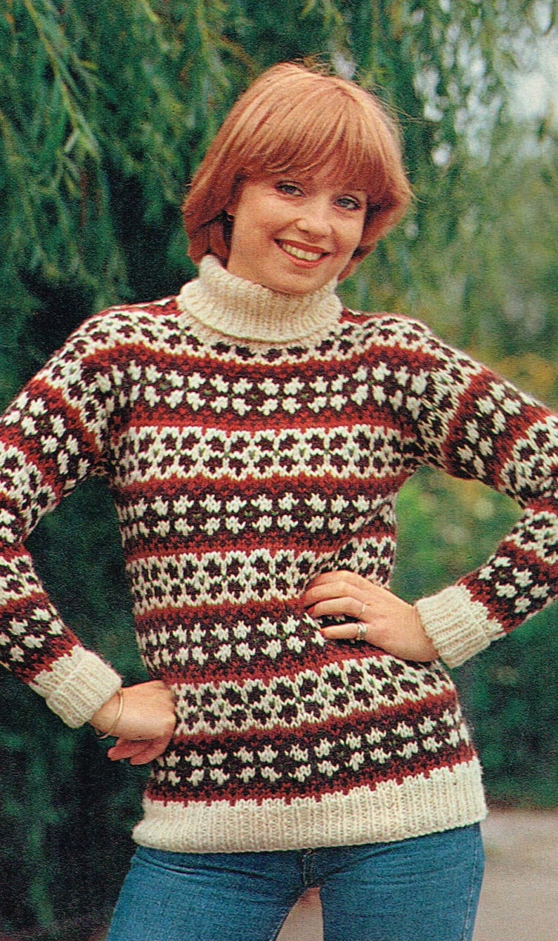 Fair Isle Sweater Pattern For The Whole Family 1970s Vintage Etsy