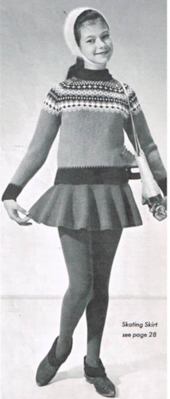 Vintage Knitting Pattern Girls Skating Outfit Etsy