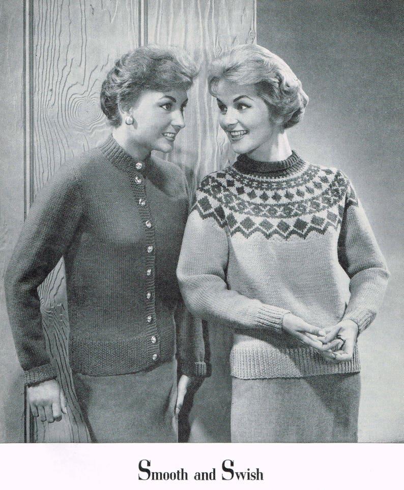 e64743b65f2d6c Vintage Knitting Pattern 50s sweater with Circular Yolk