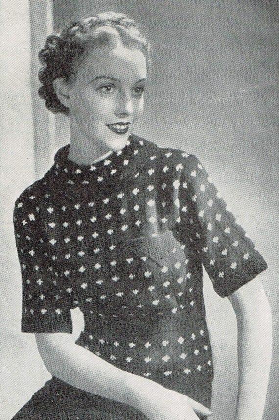 bd35b8a8c Vintage Women s Knitting Pattern 30s Jumper