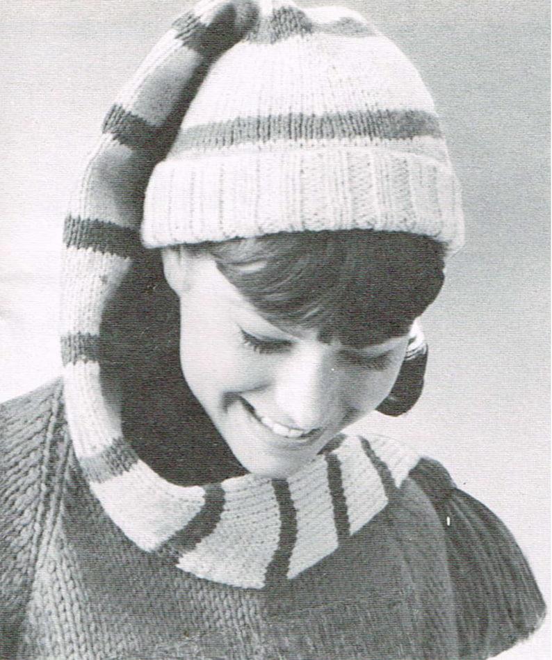 6152391d7 Vintage knitting pattern -Long stocking cap - PDF knitting pattern - retro  60's - wool hat pattern - women men ladies adult