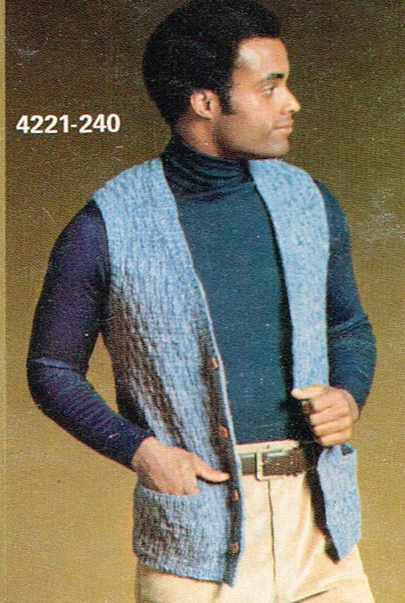 a278c221ecbf4b Vintage Knitting Pattern 2 Sweater Vest Patterns for Men