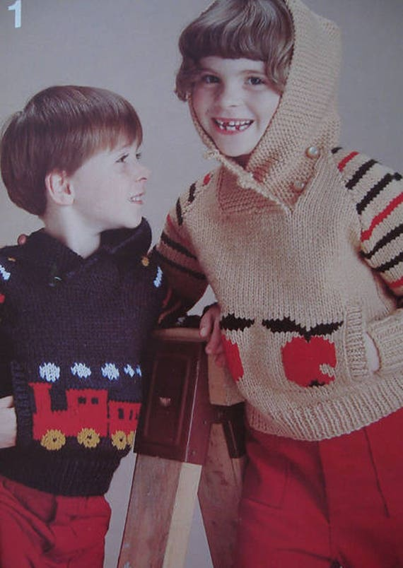 dd0ba2345 Vintage Knitting Pattern for Kids Girls or Boys Hooded