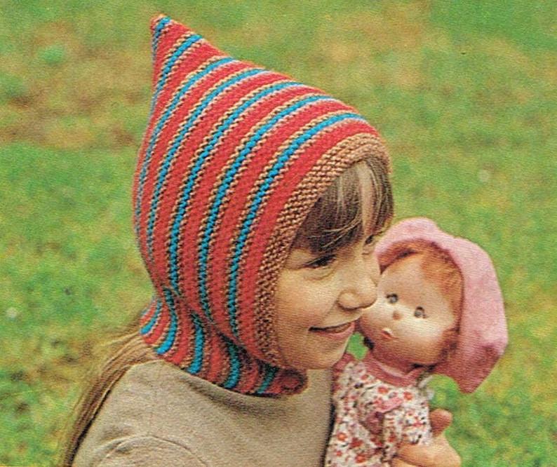 7c3a7a75b Vintage knitting pattern - Gnome hat knitting pattern - PDF knitting  pattern - retro 70's - wool hat pattern -kids girls - pointy hat
