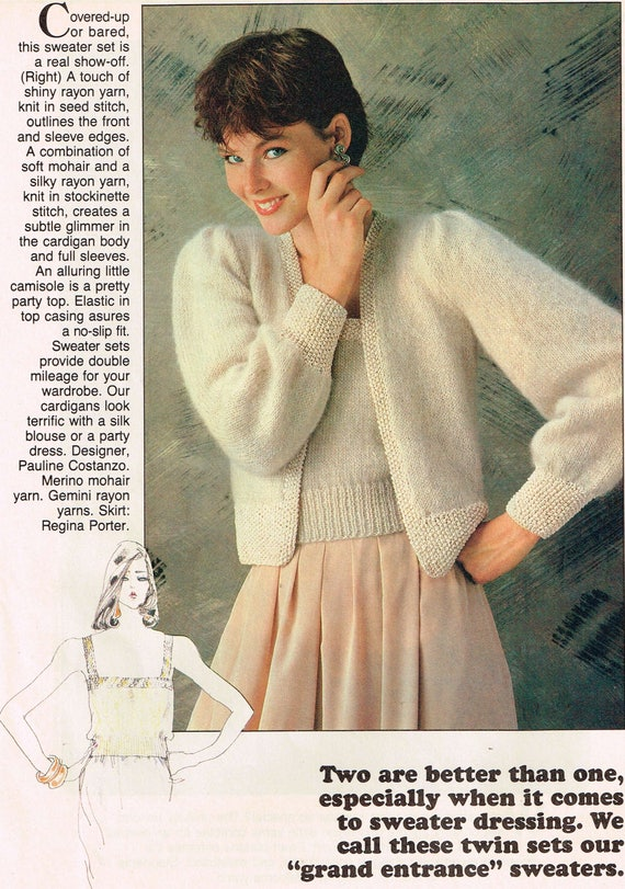2 Vintage Knitting Patterns Mohair Camisole Cardigan Etsy