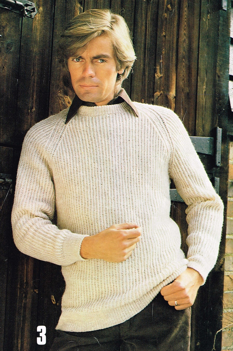21dec1721184e5 Vintage Men s Knitting Pattern for a Classic Raglan Sleeve