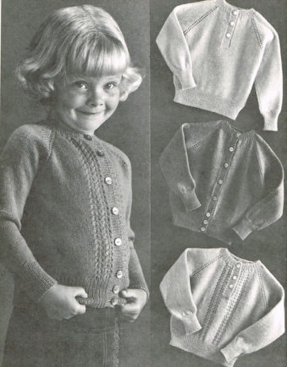 Vintage Knitting Pattern Sweater Patterns For Pre Schoolers Etsy