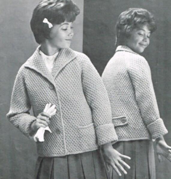 Vintage Knitting Pattern Raglan Sleeve Box Coat For Children Etsy